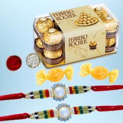 Designer Rakhi Pair with 15pc Ferrero Rocher N Free Chocolate