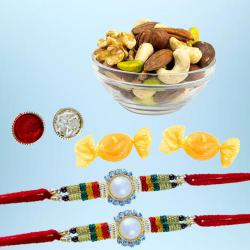 Designer Rakhi Pair with Assorted Dry Fruits N Free Chocolates