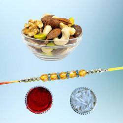 Elegant Diamond Rakhi with Assorted Dry Fruits