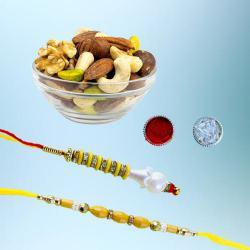 Classy Bhaiya Bhabhi Rakhi Set with Nutty Dry Fruits