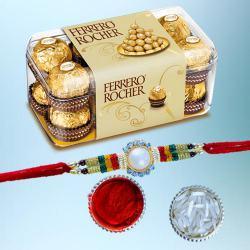 Designer Rakhi with 15pc Ferrero Rocher Pack