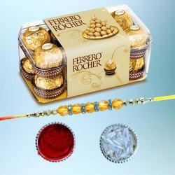 Graceful Diamond Rakhi with 15pc Ferrero Rocher Pack