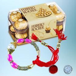 Fancy Bracelet Rakhi with 15pc Ferrero Rocher Pack