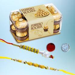 Charming Bhaiya Bhabhi Rakhi with 15pc Ferrero Rocher Pack