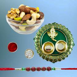 Classy Rudraksh Rakhi with Assorted Dry Fruits n Pooja Thali