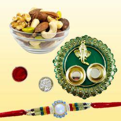 Designer Rakhi with Dry Fruit Assortments n Pooja Thali