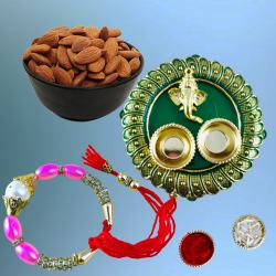 Pretty Bracelet Rakhi with Dry Fruits n Pooja Thali