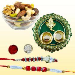 Charming Bhaiya Bhabhi Rakhi with Dry Fruits n Pooja Thali