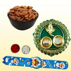 Delightful Kids Rakhi with Dry Fruits n Pooja Thali