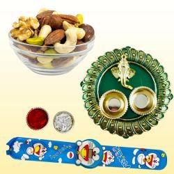 Flattering Kids Rakhi with Dry Fruits n Pooja Thali