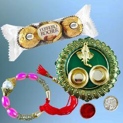 Elegant Bracelet Rakhi with 3pc Ferrero Rocher n Pooja Thali