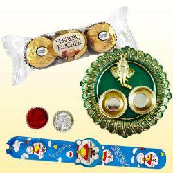 Cute Kids Rakhi with Ferrero Rocher n Pooja Thali