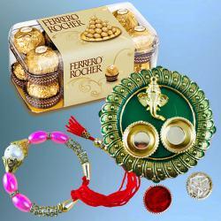 Fancy Bracelet Rakhi with Ferrero Rocher n Pooja Thali
