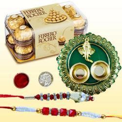 Pretty Bhaiya Bhabhi Rakhi with Ferrero Rocher n Pooja Thali