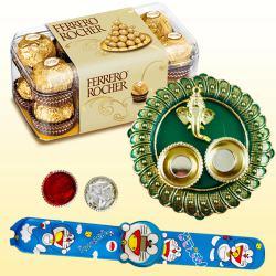 Amazing Kids Rakhi with Ferrero Rocher n Pooja Thali