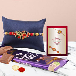 Fantastic Peacock Rakhi, Cadbury Dairy Milk, Free Roli Chawal N Card