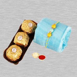 Stunning Rakhi, Ferrero Rocher Chocolate, Free Roli Chawal N Card