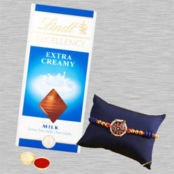 Stylish Moti N Stone Rakhi with Lindt Chocolate, Free Card N Roli Tika