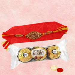 Ravishing Rakhi with Ferrero Rocher, Free Roli Chawal N Card