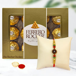 Fancy Rakhi, Ferrero Rocher Chocolate, Free Roli Tika N Card