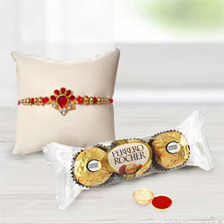Gorgeous Floral Rakhi with Ferrero Rocher Chocolate n Card