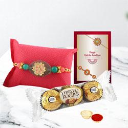Graceful Green Pebble Rakhi, Rocher Chocolate, Roli Tika n Card