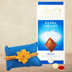 Attractive Sunny Rakhi with Lindt Chocolate Bar N Card
