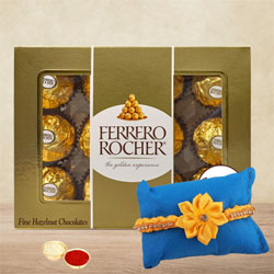 Gaudy Sunny Rakhi with Ferrero Rocher Chocolate n Card