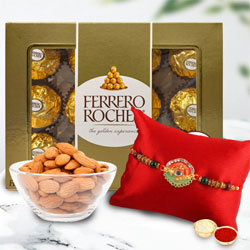 Outstanding Dual Color Rakhi with Dry Fruits, Chocolates N Card