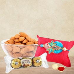 Exclusive Ocean Blue Rakhi with Almond N Ferrero Rocher