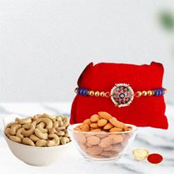 Graceful Rakhi with Dry Fruits Pack, Free Roli Chawal N Card