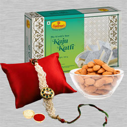 Exquisite Rakhi with Soan Papdi N Almonds