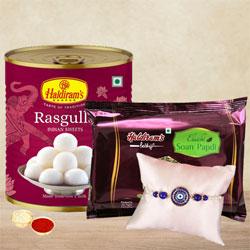 Designer Royal Blue Rakhi with Sweets, Rakhi Card N Roli Tika
