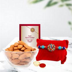 Elegant Ganesha Theme Rakhi with Almonds, Card N Roli Teeka