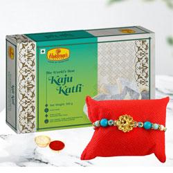 Outstanding Rakhi N Kaju Roll Pack with Free Roli Tika