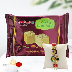 Showy Peacock Rakhi with Soan Papdi, Free Roli Tika N Card