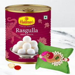 Decorative Floral Rakhi with Rasgulla, Rakhi Card n Roli Tika