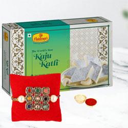 Colorful Stones Rakhi with Kaju Katli, Roli Tilak n Rakhi Card