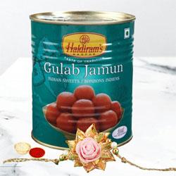 Lovely Blooming Rose Rakhi with Gulab Jamun, Roli Tika n Wishes Card