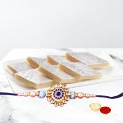 Stylish Rakhi with Kaju Katli, Roli Tika  N  Chawal and Card
