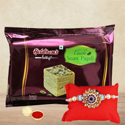 Gorgeous Rakhi with Soan Papdi, Rakhi Card n Roli, Chawal Free