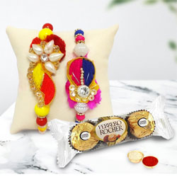 Pretty Rakhi Set of 2 with Ferrero Rocher n Card