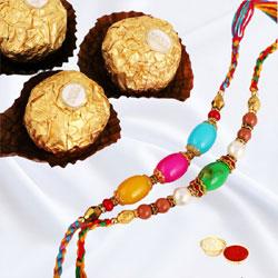 Trendy Rakhi Set of 2 N Ferrero Rocher, with Card N Roli Tika