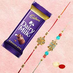 Graceful Bhai Rakhi Pair with Cadbury Dairy Milk