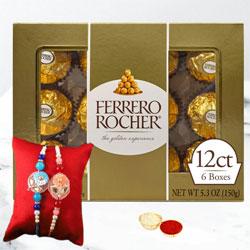 Delightful Set of 2 Sequins Rakhi with Ferrero Rocher Chocolate