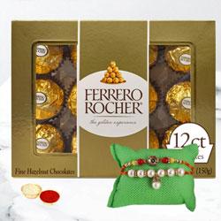 Impressive Gift of Twin Rakhi N Ferrero Rocher, Free Roli Tika N Card