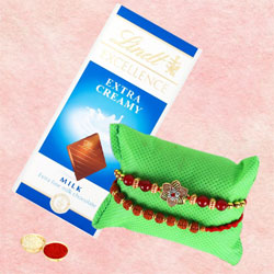 Amazing Rakhi Set of 2 with Lindt Chocolate, Card N Roli Tika