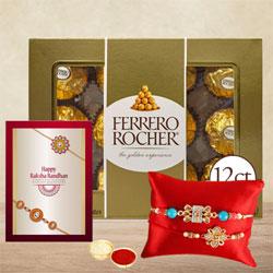 Classic Bhaiya Rakhi Pair with Ferrero Rocher Chocolate