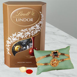 Charming Rakhi Pair with Lindor Truffles, Rakhi Card N Roli Tika