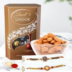 Admirable Rakhi Pair with Lindor Truffles N Almonds